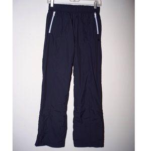 Old Navy navy blue track pants-- FLAW--tiny hole